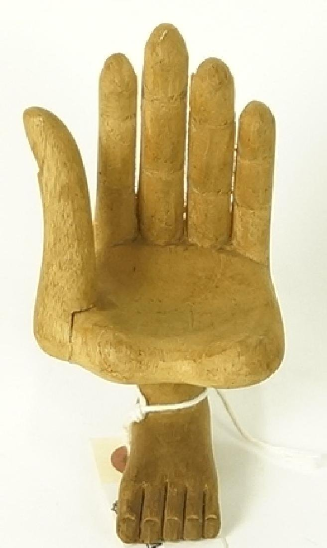 PEDRO FRIEDBERG WOOD HAND FOOT SIGNED SCULPTURE