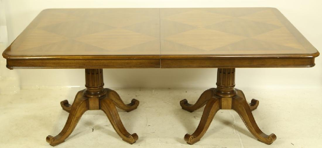 DOUBLE PEDESTAL WALNUT PARQUET TOP DINING TABLE