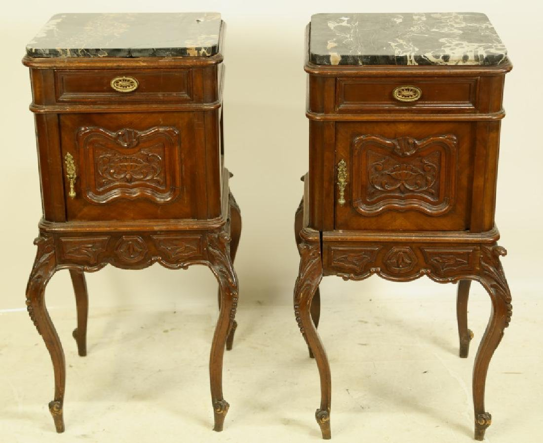PAIR19th C. FRENCH MARBLE TOP BEDSIDE CABINETS