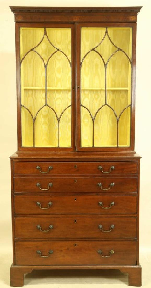 CIRCA 1840 GEORGIAN MAHOGANY SECRETARY BOOKCASE