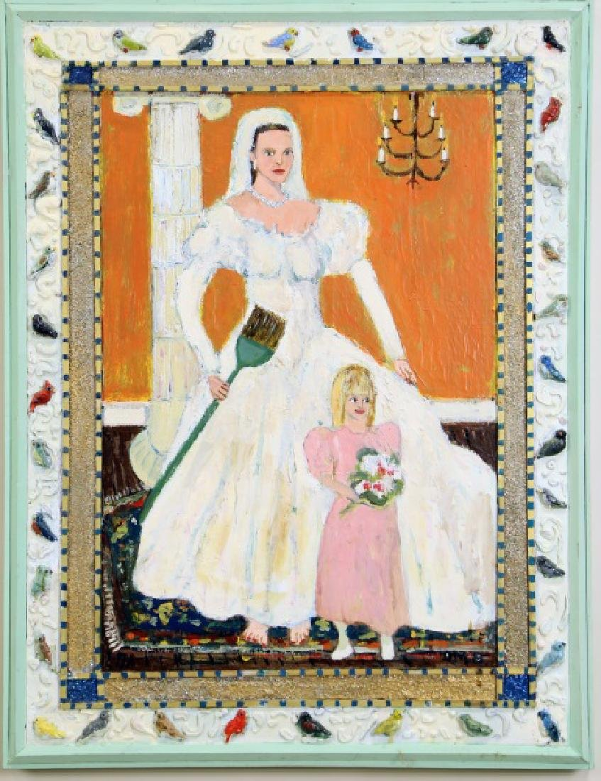 BRIDE & FLOWER GIRLS ACRYLIC ON PANEL PAINTING