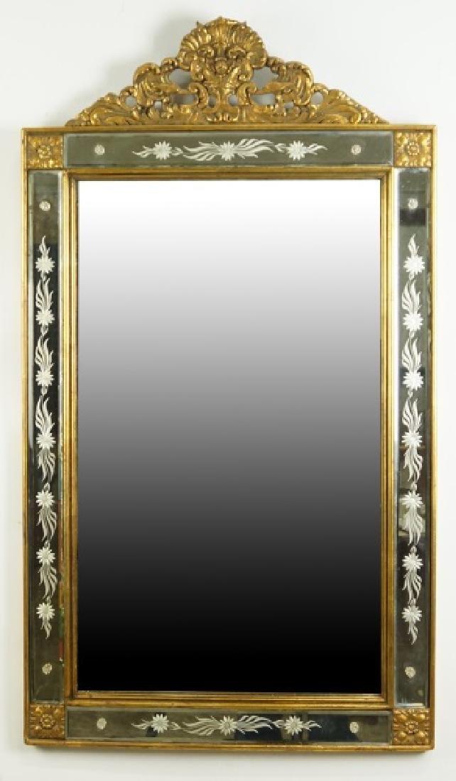 VINTAGE CARVED & GILDED VENETIAN GLASS MIRROR