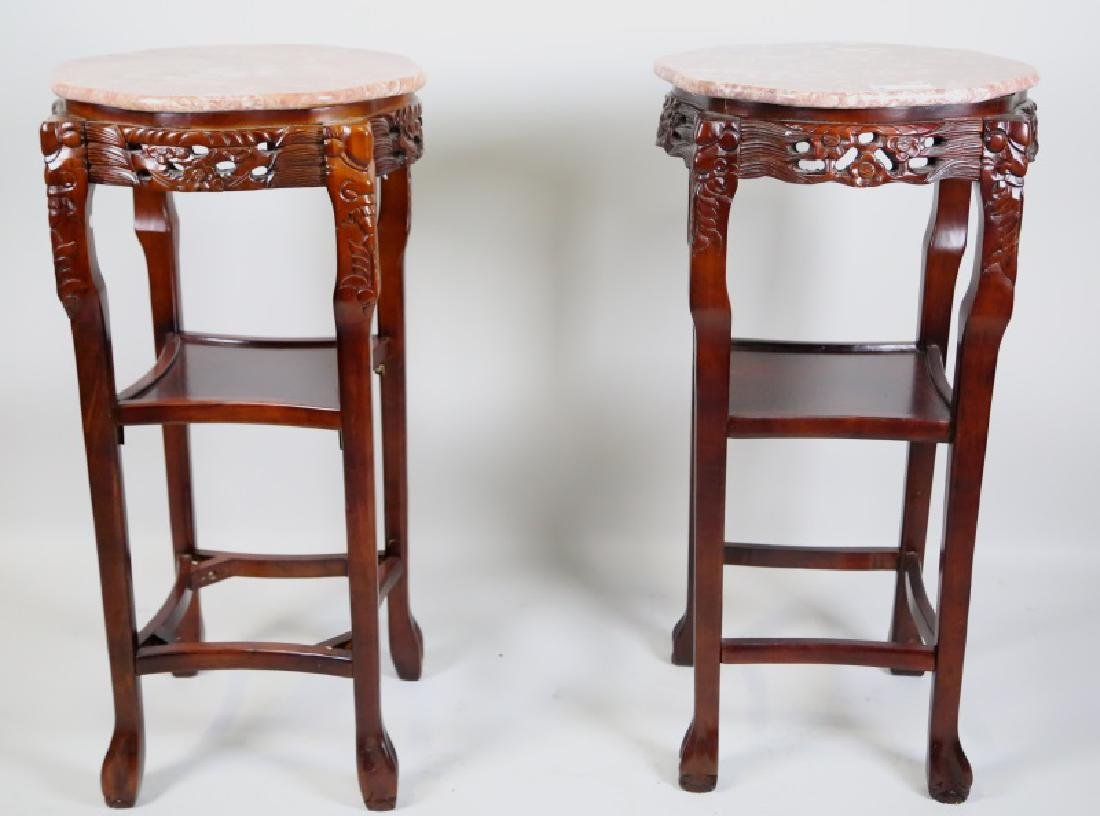 PAIR OF CARVED CHINESE MARBLE TOP STANDS
