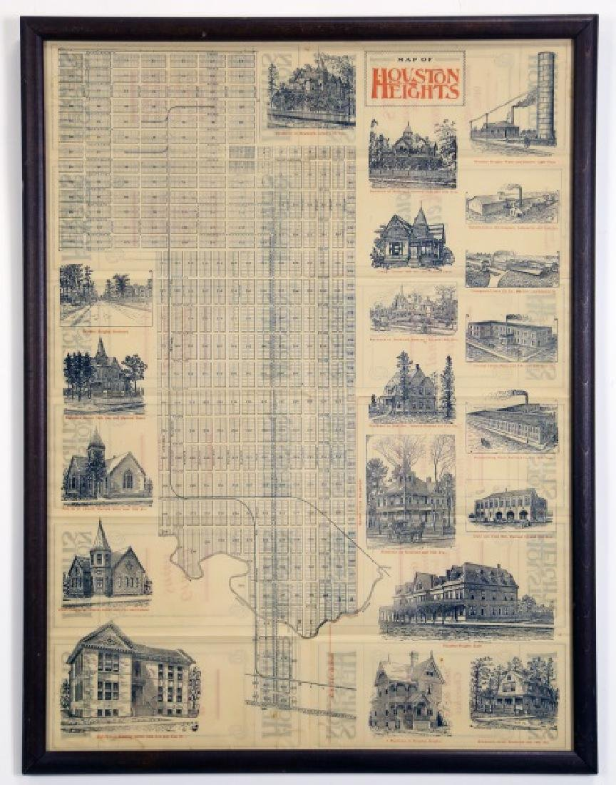 CIRCA 1895 MAP OF HOUSTON HEIGHTS LITHOGRAPH