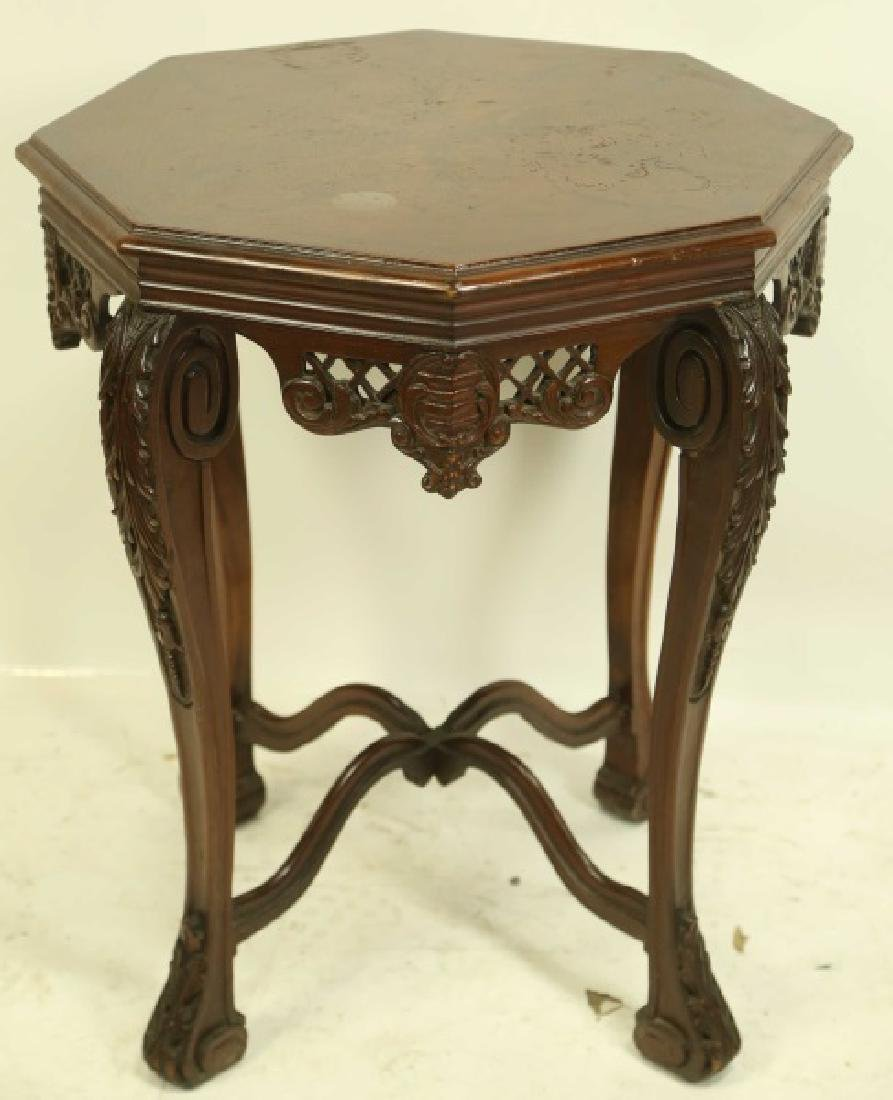 RENAISSANCE REVIVAL CARVED & INLAID RED OAK TABLE