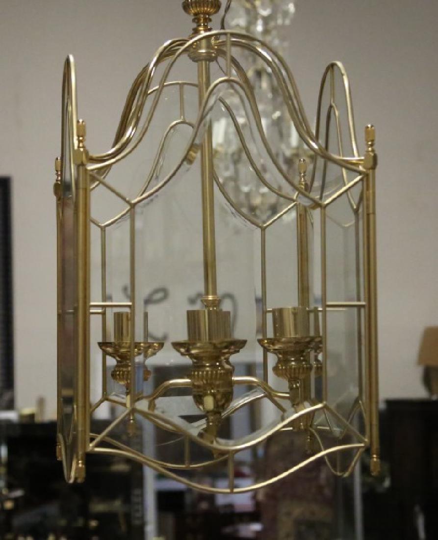 FOUR-LIGHT BRASS & GLASS CARRIAGE LANTERN