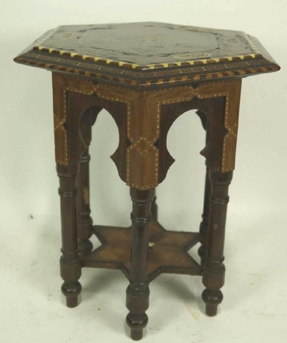 VINTAGE BONE INLAID MOROCCAN SIDE TABLE