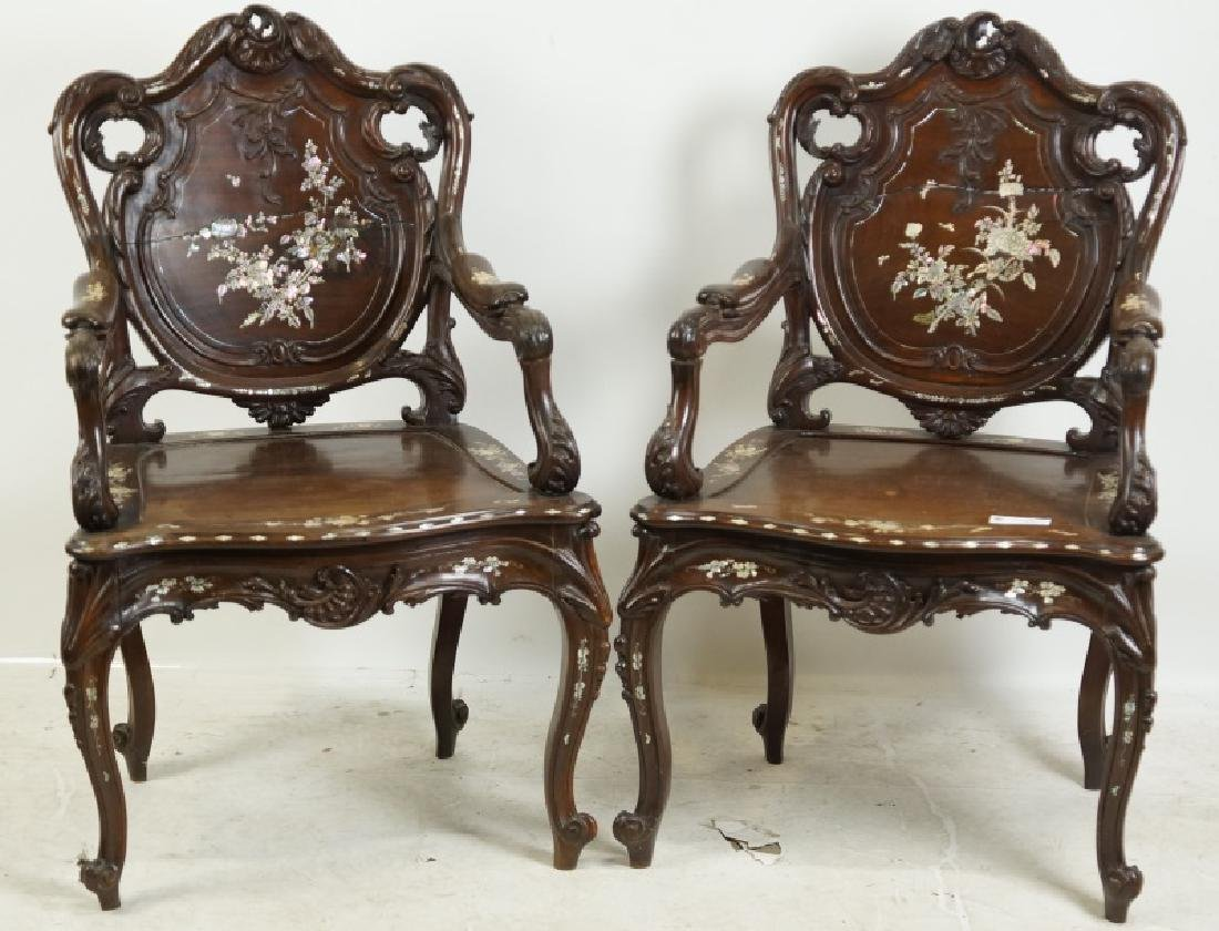 PAIR OF ROSEWOOD CHAIRS WITH INLAID MOTHER OF PEAR