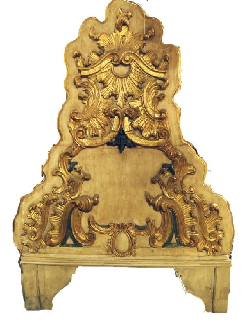 19th CENTURY SPANISH CARVED & GILDED HEADBOARD