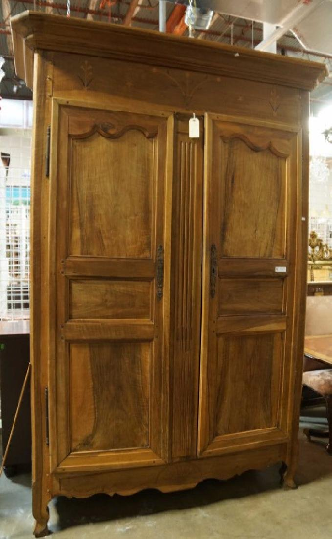 19th CENTURY WALNUT INLAID ARMOIRE WITH TWO DOORS