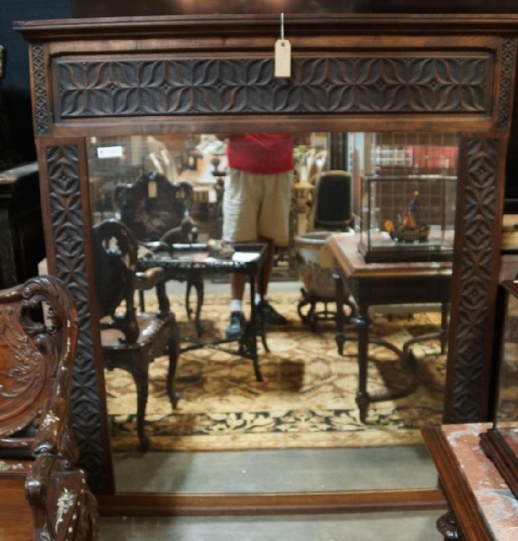 19th CENTURY CARVED OAK OVERMANTEL MIRROR