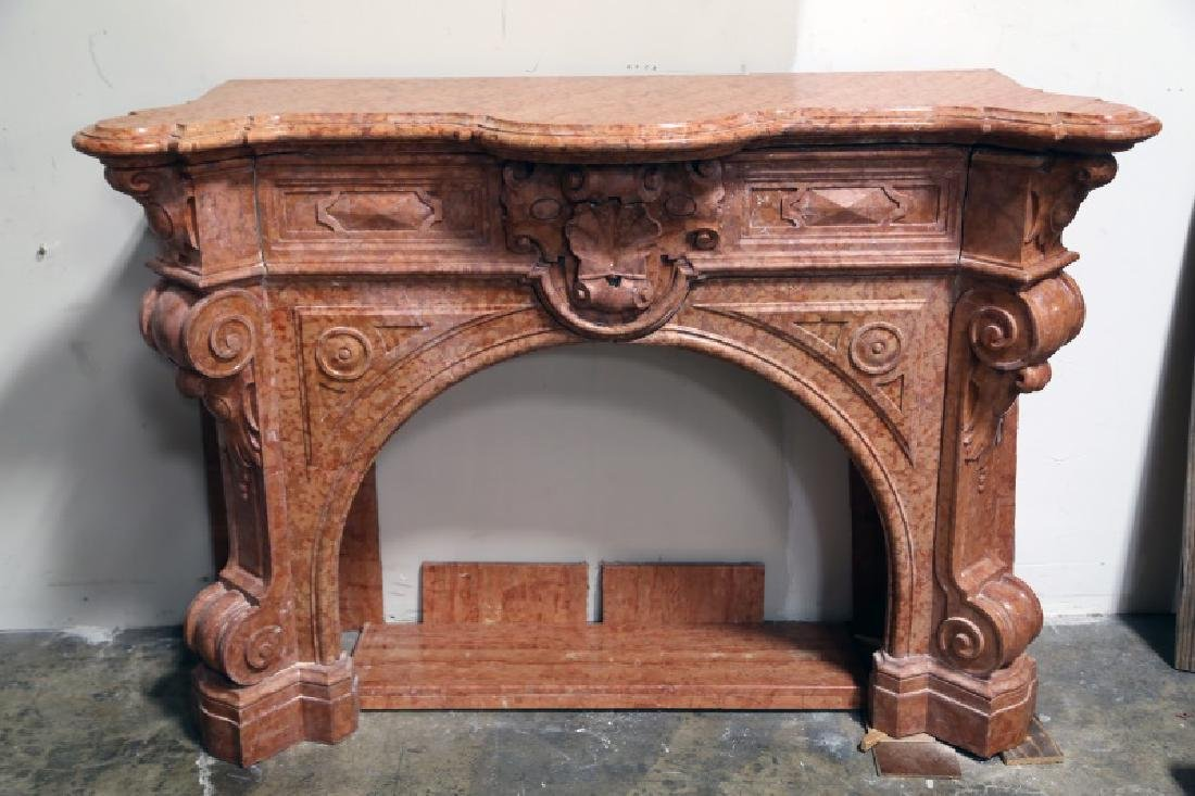 19th CENTURY ROSE MARBLE FIREPLACE SURROUND
