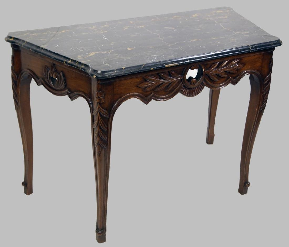 ANTIQUE FRENCH MARBLE TABLE TOP CONSOLE TABLE