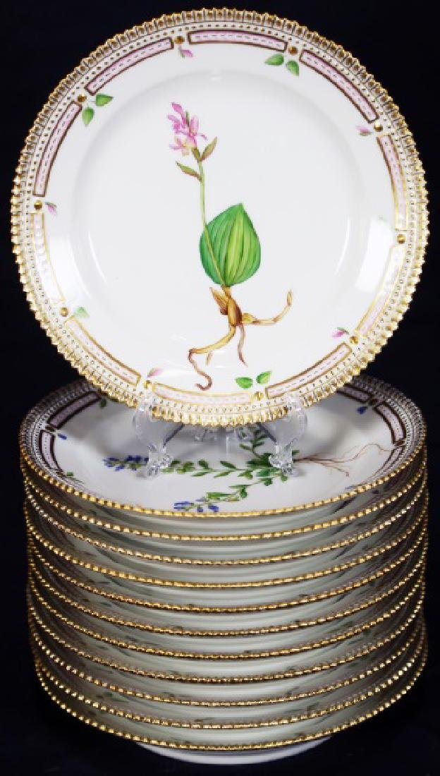 "12 ""FLORA DANICA"" BY ROYAL COPENHAGEN SALAD PLATES"