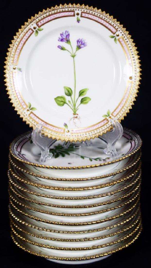 "12 ""FLORA DANICA"" BY ROYAL COPENHAGEN BREAD PLATES"