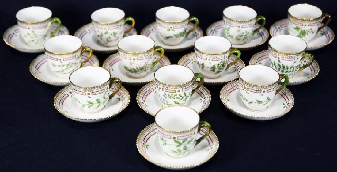 "13 ""FLORA DANICA"" BY ROYAL COPENHAGEN CUPS/SAUCERS"