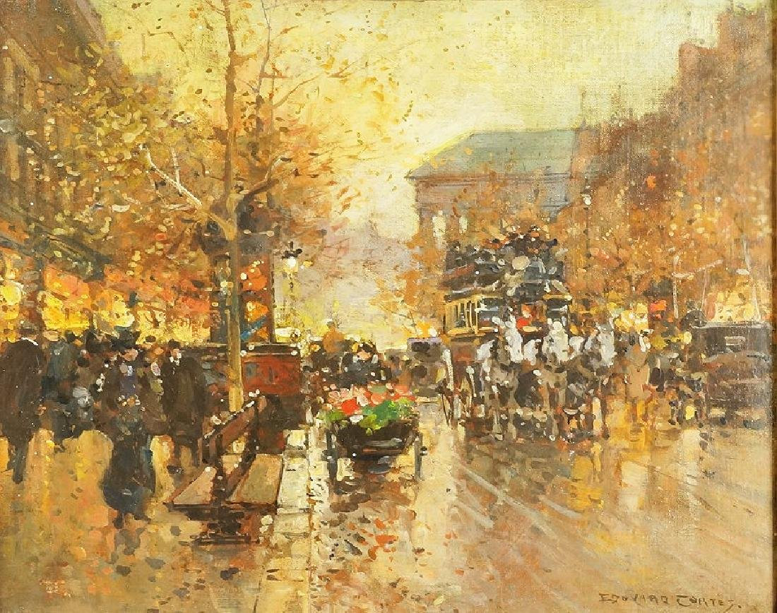 "EDOUARD CORTEZ ""BOULEVARD A PARIS"" OIL ON PANEL"