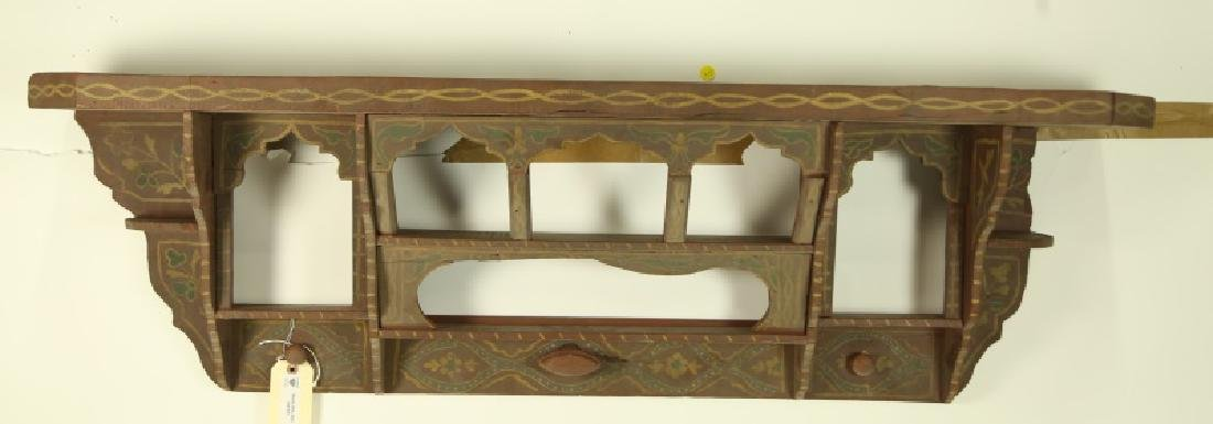 ANTIQUE MOROCCAN PAINTED WALL MOUNT COAT  RACK