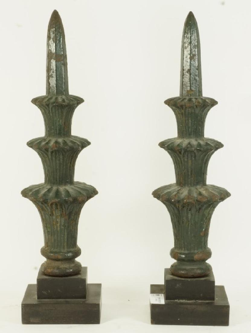 PAIR OF 19th CENTURY CAST IRON FINIALS ON STANDS