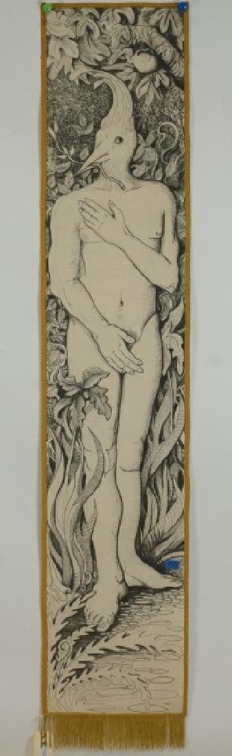 """DIXIE FRIEND GAY  """"BIRDMAN"""" PAINTED TAPESTRY, 1980"""