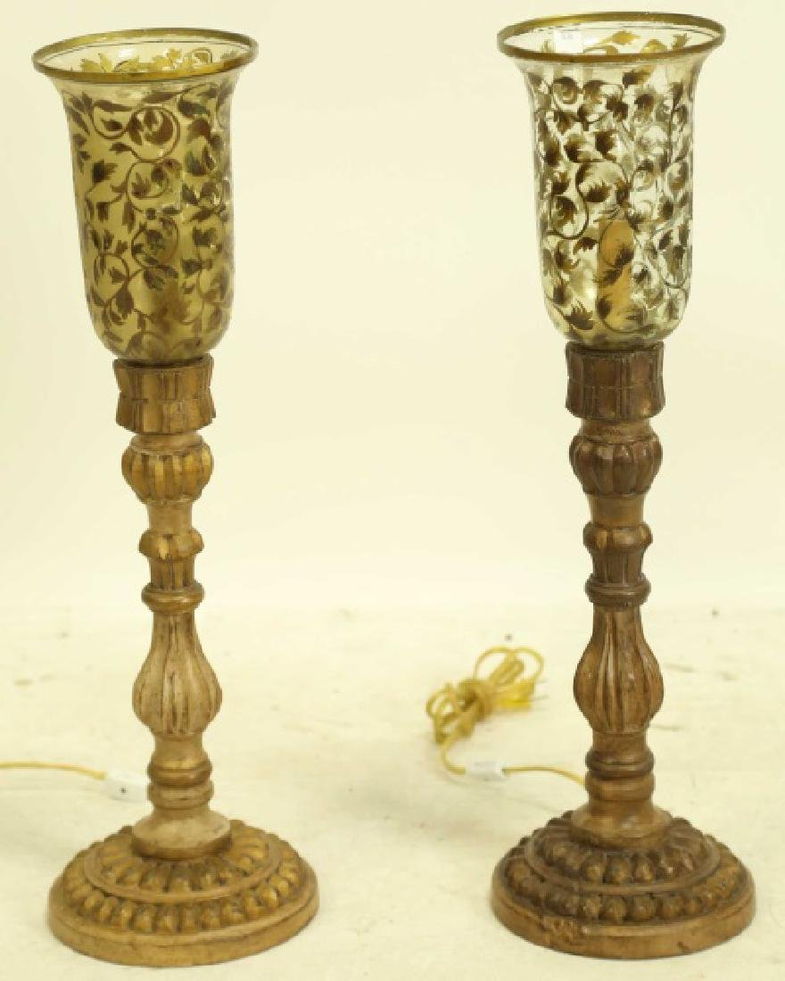 PAIR OF HURRICANE LAMPS WITH CARVED & GILDED BASE