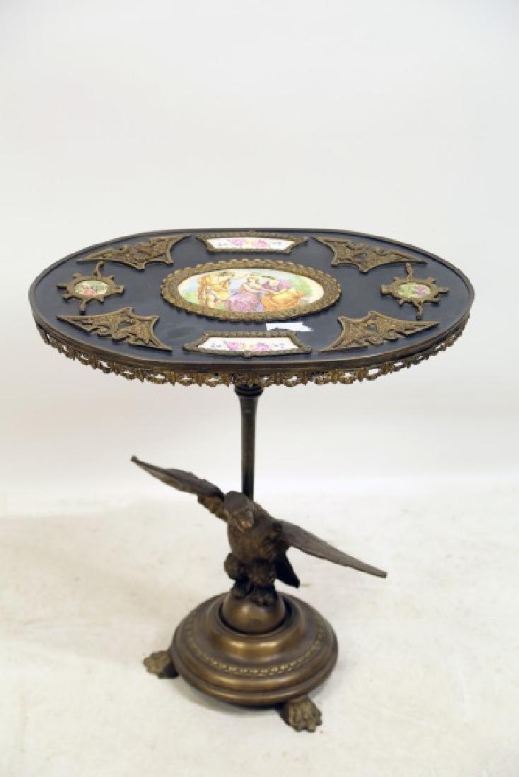 CIRCA 1900 TILT TOP TABLE WITH PORCELAIN PLAQUES