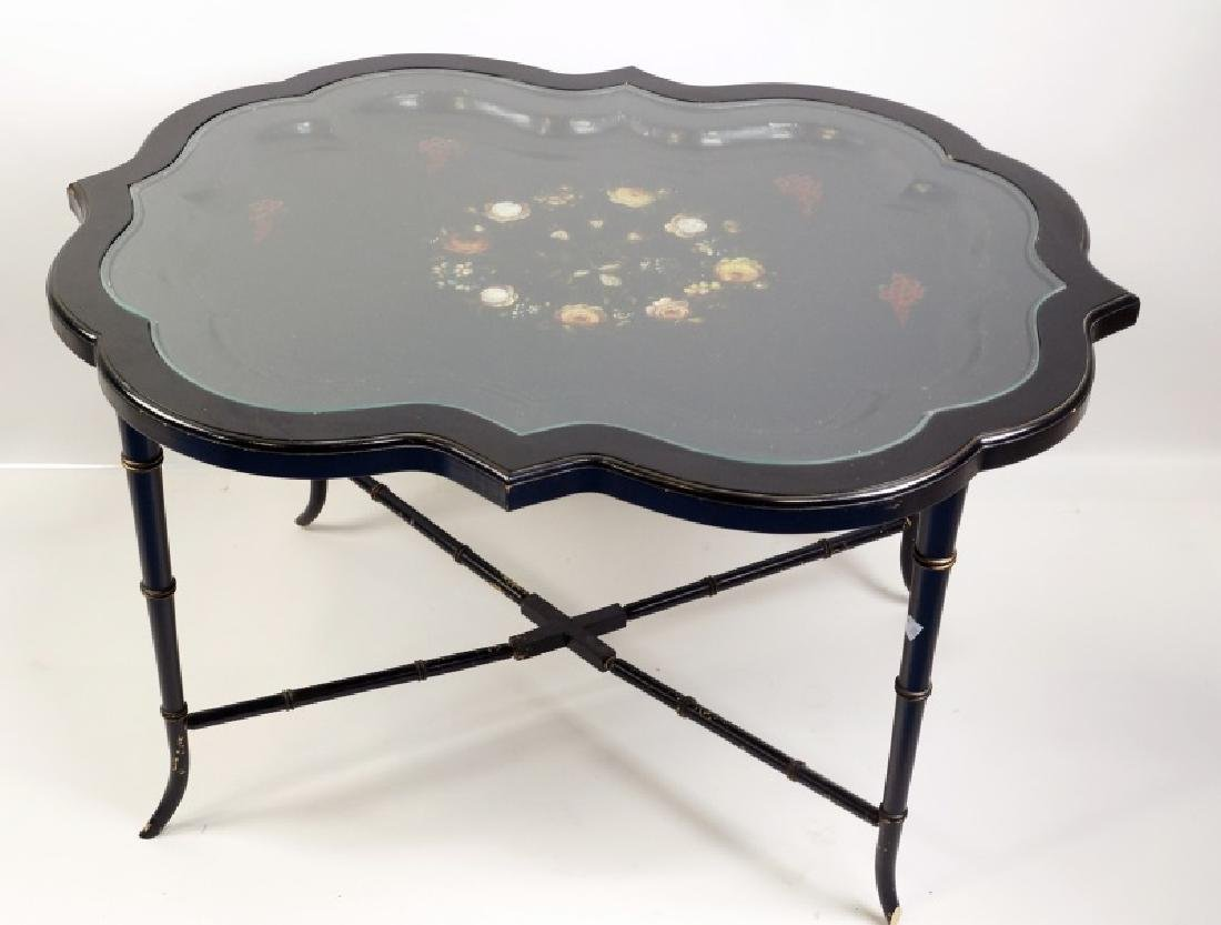 VICTORIAN PAPIER MACHE LACQUERED TRAY TABLE