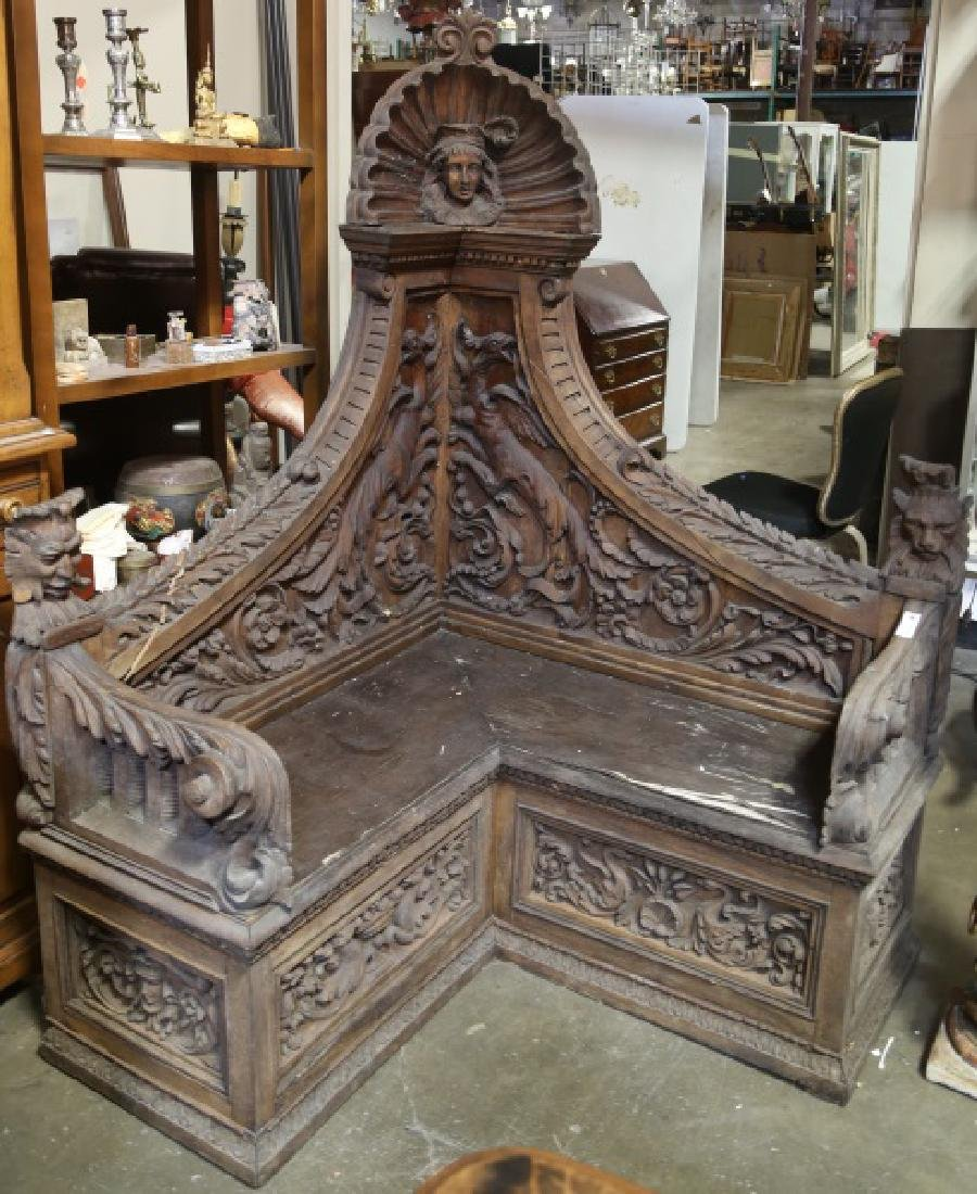 ANTIQUE GOTHIC REVIVAL WELL CARVED CORNER BENCH