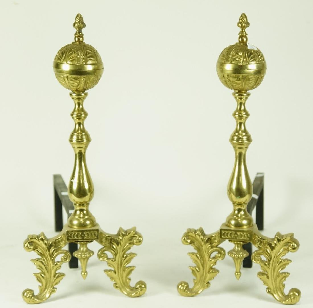 PAIR OF ANDIRONS & FIRE FENDER