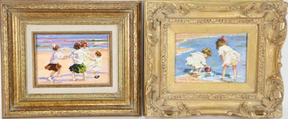 LOT OF TWO OIL ON CANVAS BEACH SCENE PAINTINGS