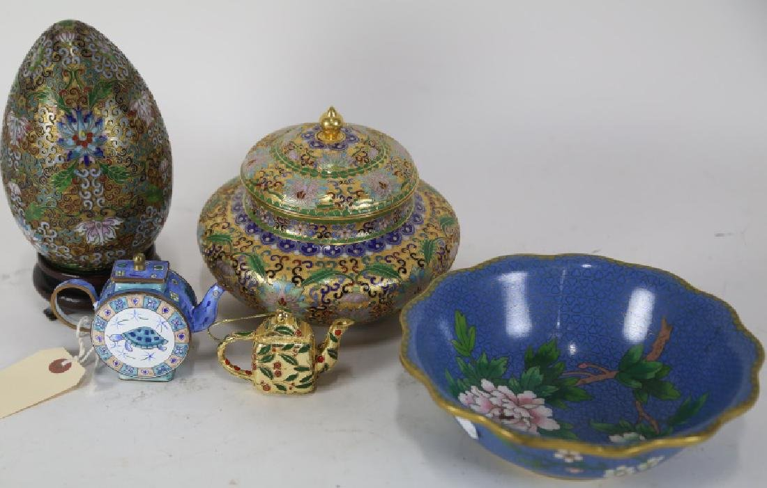 MIXED LOT OF FIVE CHINESE CLOISONNE PIECES