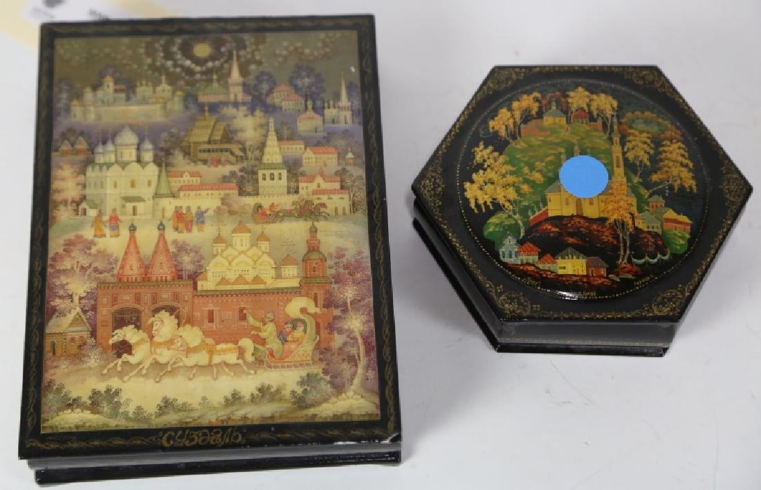 LOT OF TWO RUSSIAN LACQUERED HAND PAINTED BOXES