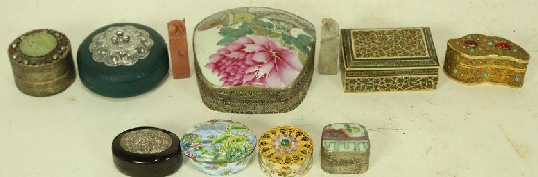 MIXED LOT OF 11  CHINESE PORCELAIN BOXES
