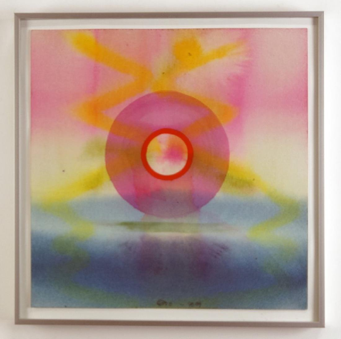 "STEPHAN MUELL ""PINK CIRCLE"" WATERCOLOR,1999"