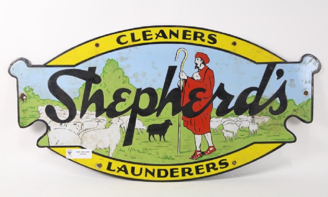 ENAMEL METAL SHEPHERDS LAUNDRY SIGN