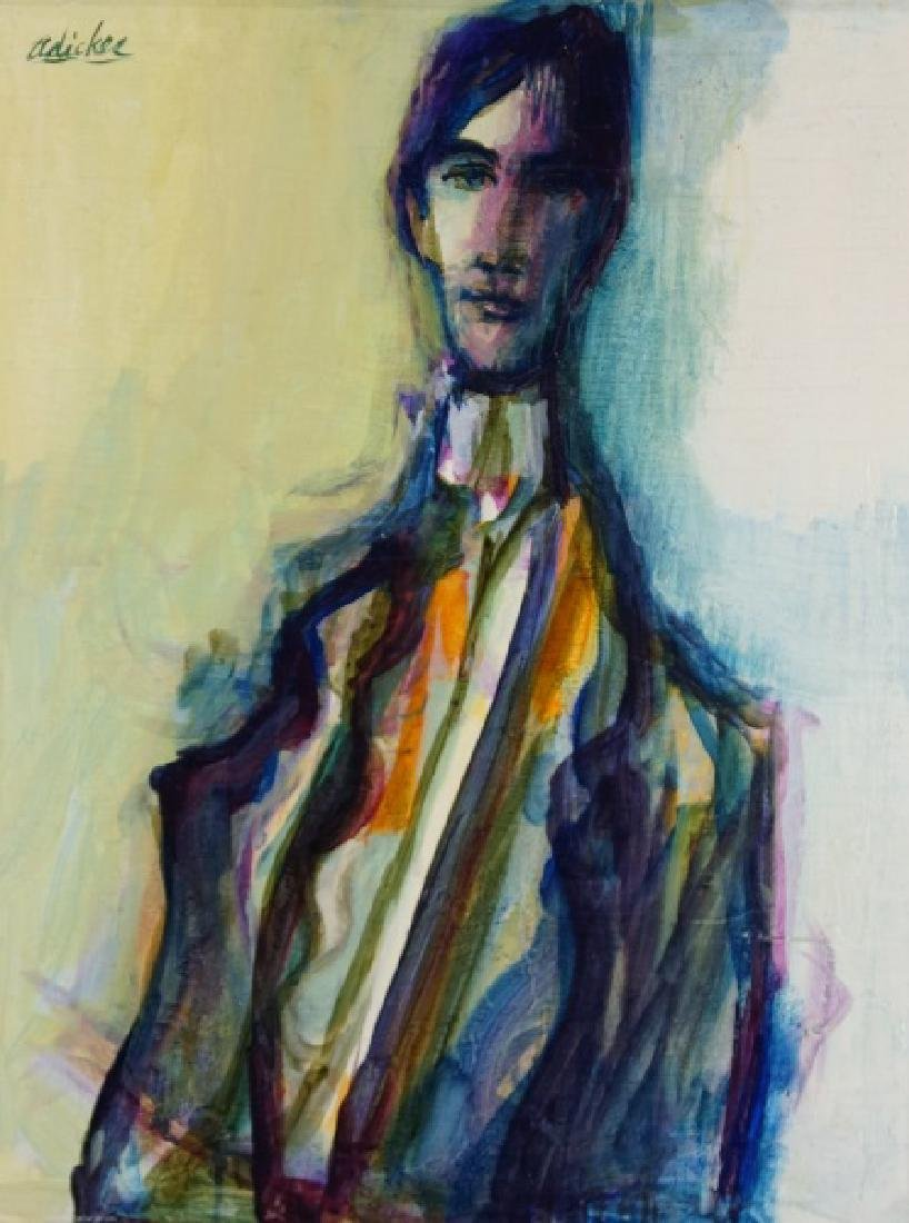"DAVID ADICKES ""BART IN ORANGE TIE"" OIL ON BOARD"