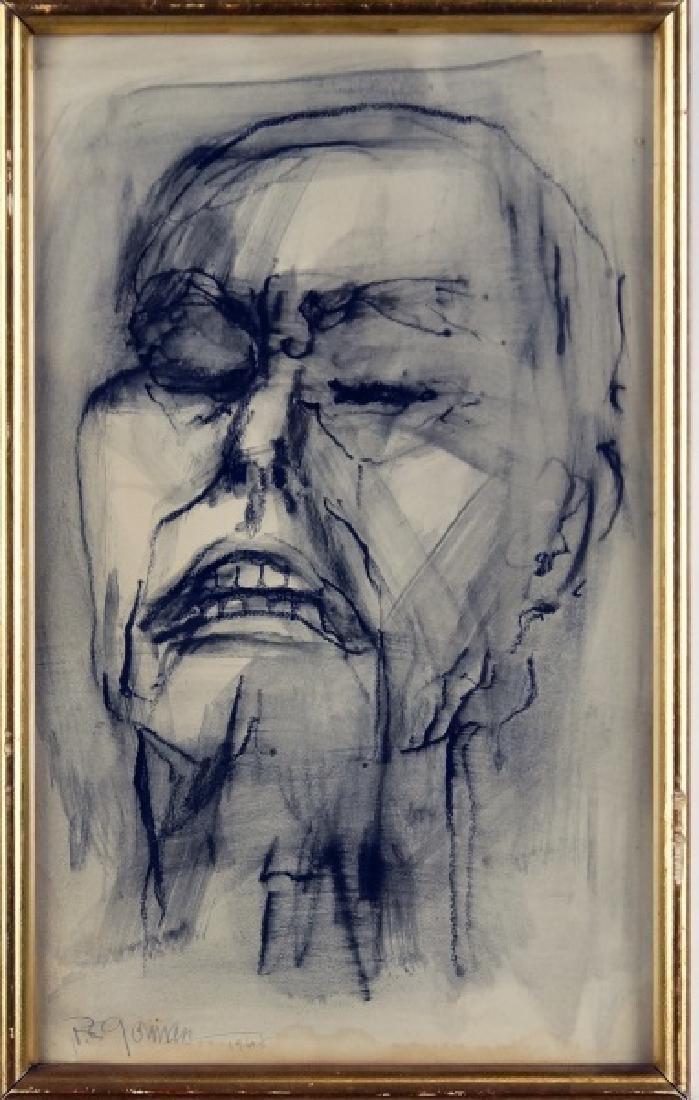 "R.C. GORMAN ""FACE"" MIXED MEDIA, 1968"