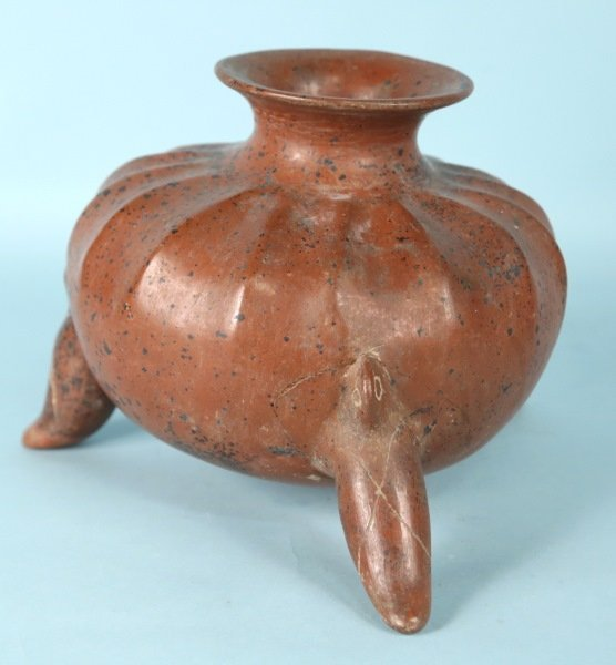 PRE-COLUMBIAN TERRACOTTA MELON SHAPED FOOTED BOWL