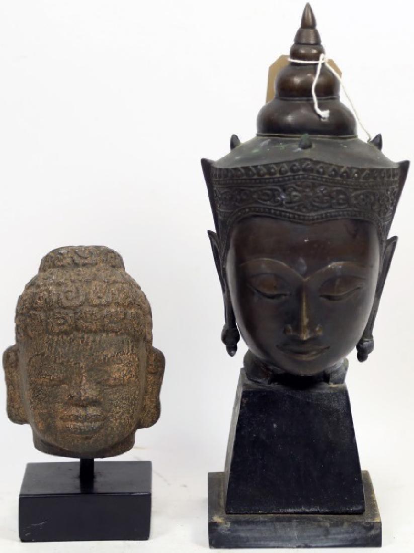 19th CENTURY BRONZE BUDDHA HEAD & CAST RESIN HEAD