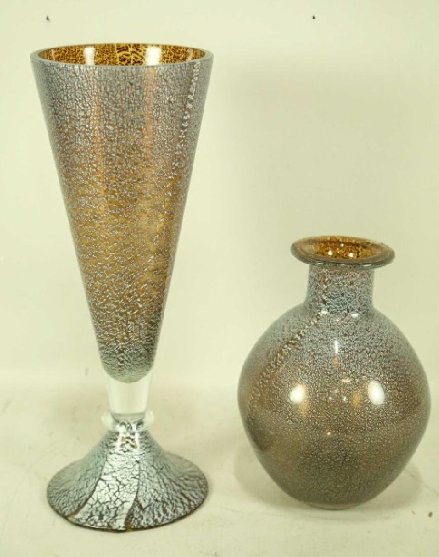 LOT OF TWO ART DECO STYLE MURANO GLASS VASES