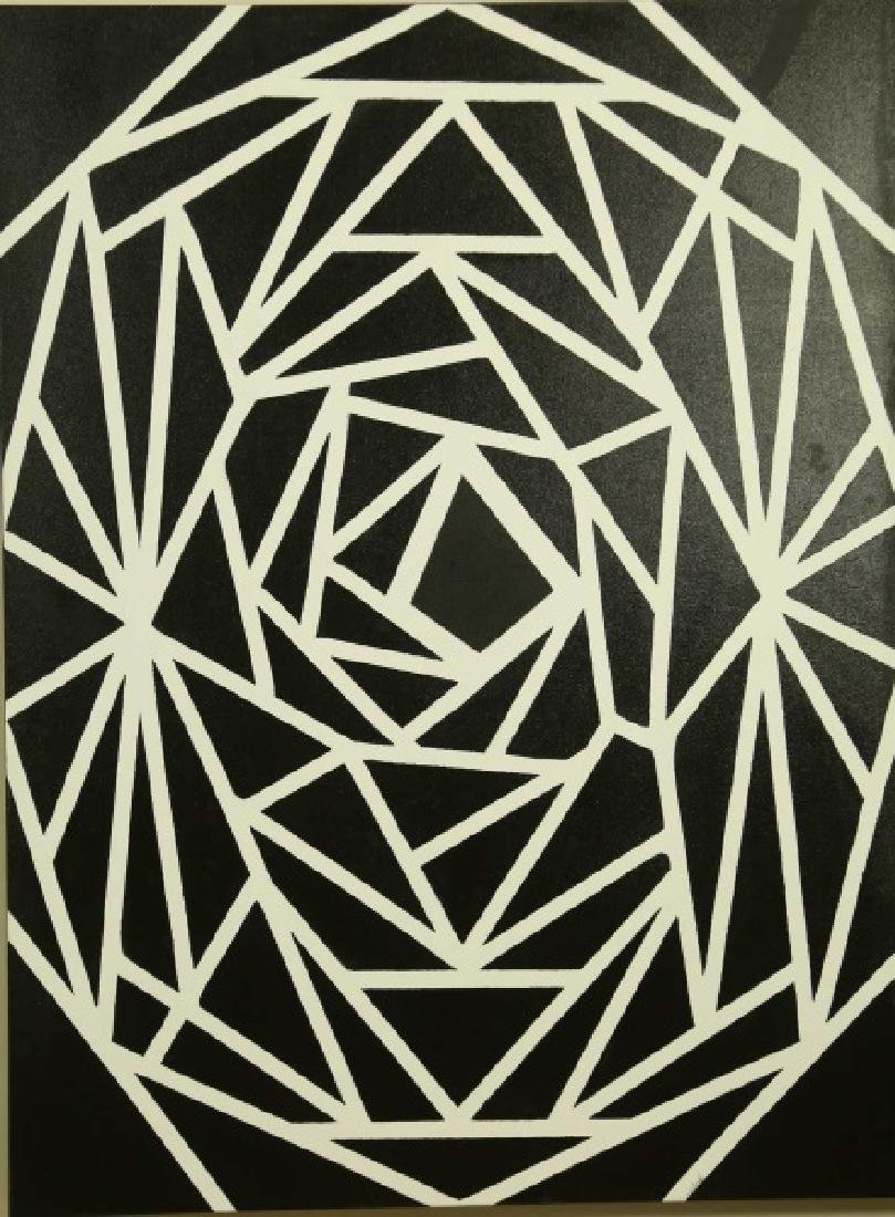 S.E. SPACK BLACK & WHITE ABSTRACT PAINTING
