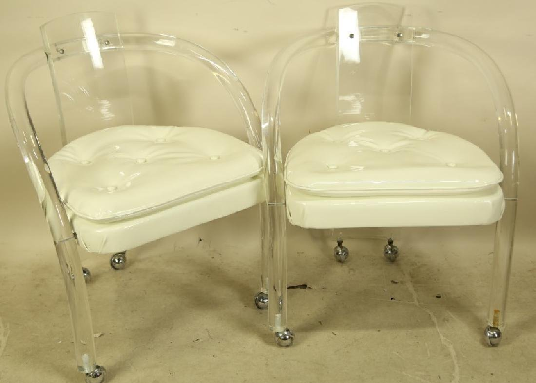 PAIR OF MID-CENTURY MODERN LUCITE ARMCHAIRS