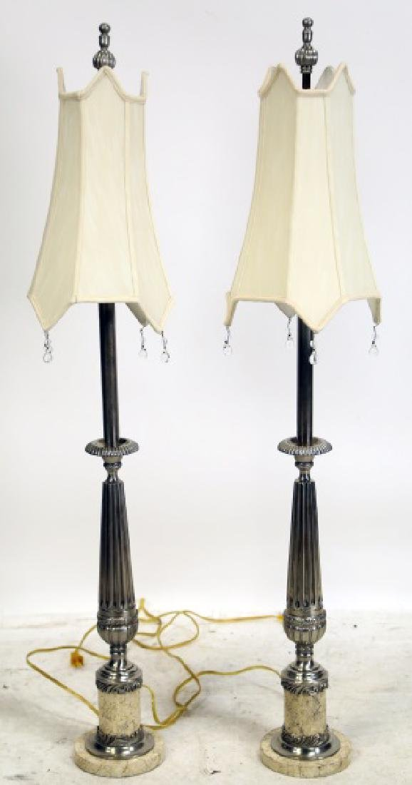 PAIR OF CONTEMPORARY CANDLESTICK LAMPS