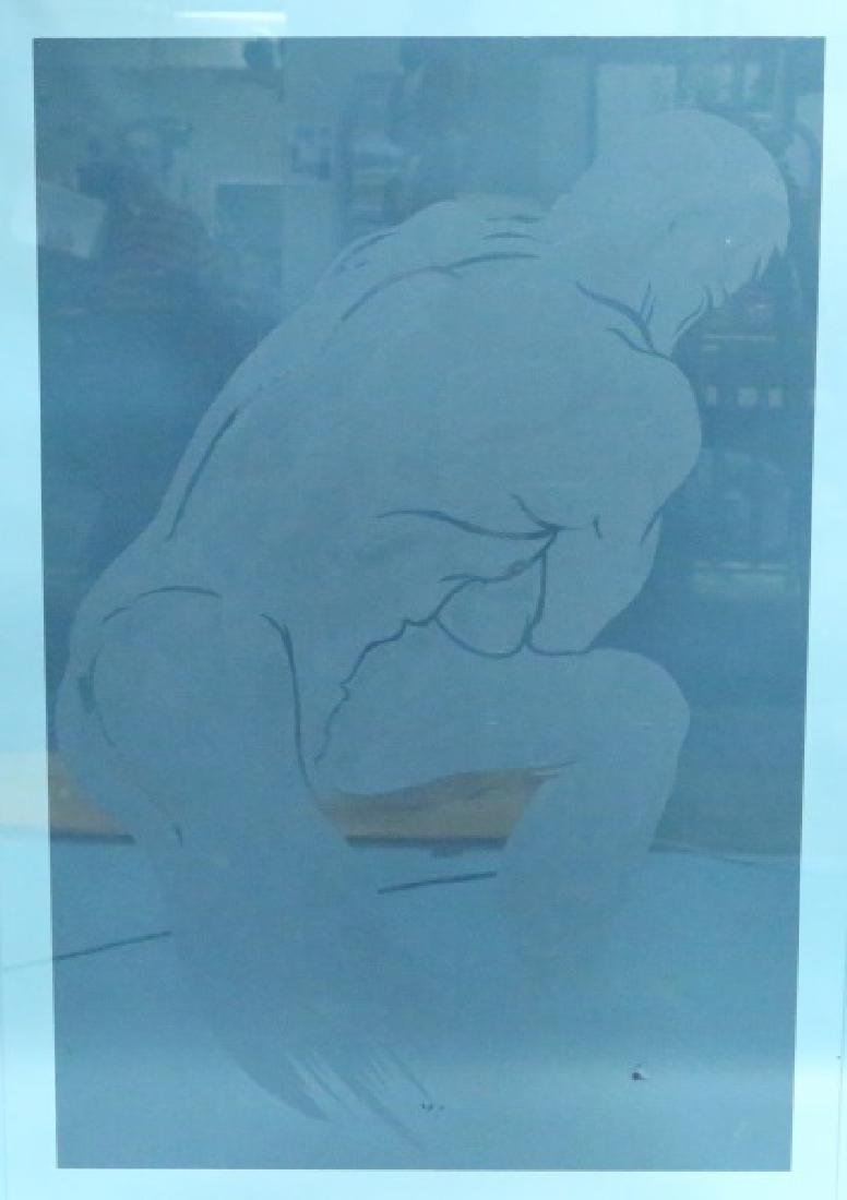 CUT AND ETCHED GLASS MALE NUDE  PANEL