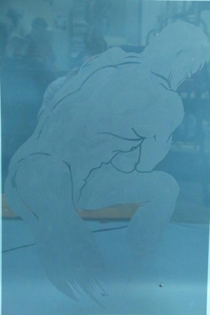 CUT AND ETCHED GLASS MALE NUDE  PANEL - 2