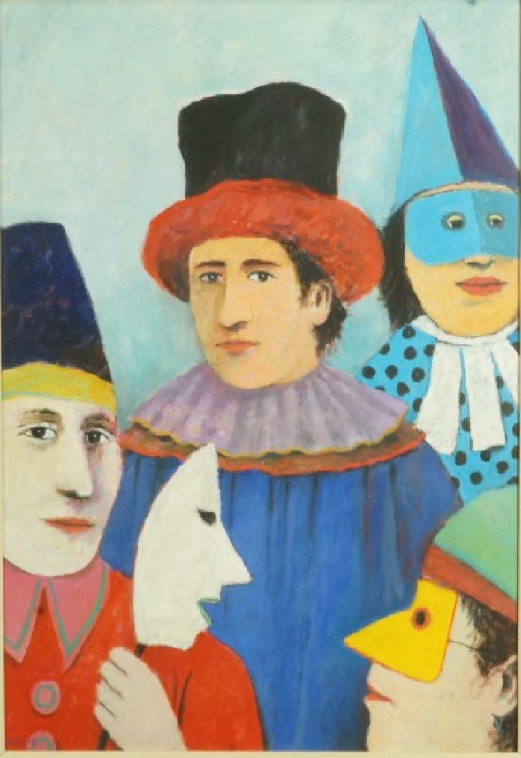 "HERB MEARS ""CLOWNS' OIL ON BOARD"