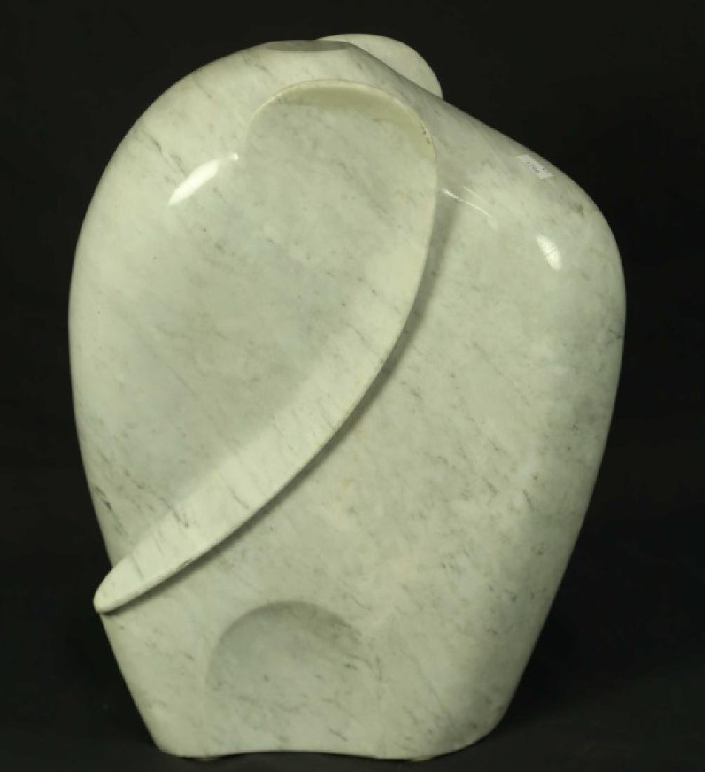 CARVED WHITE MARBLE ELEPHANT SCULPTURE