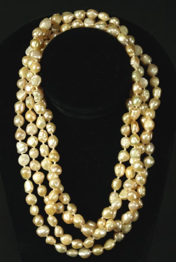 """WELL-PROPORTIONED 76"""" PINK PEARL NECKLACE"""