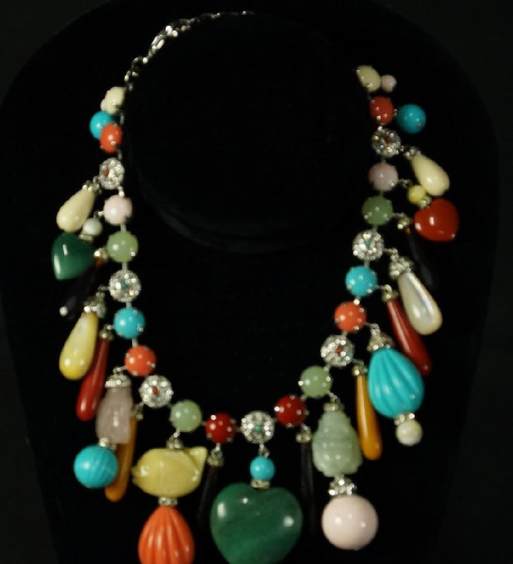CARLO ZINI EMBELLISHED STONE NECKLACE
