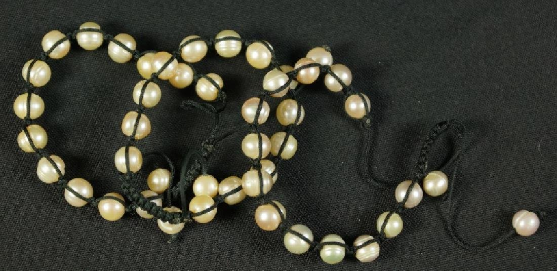 LOT OF THREE FRESHWATER PEARL &  LEATHER BRACELETS